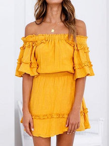 Yellow Off Shoulder Frill Trim Chic Women Mini Dress