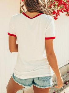 White Cotton Rainbow And Letter Print Chic Women T-shirt