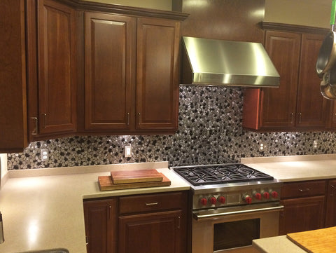 River Rock Black and Silver Kitchen Backsplash