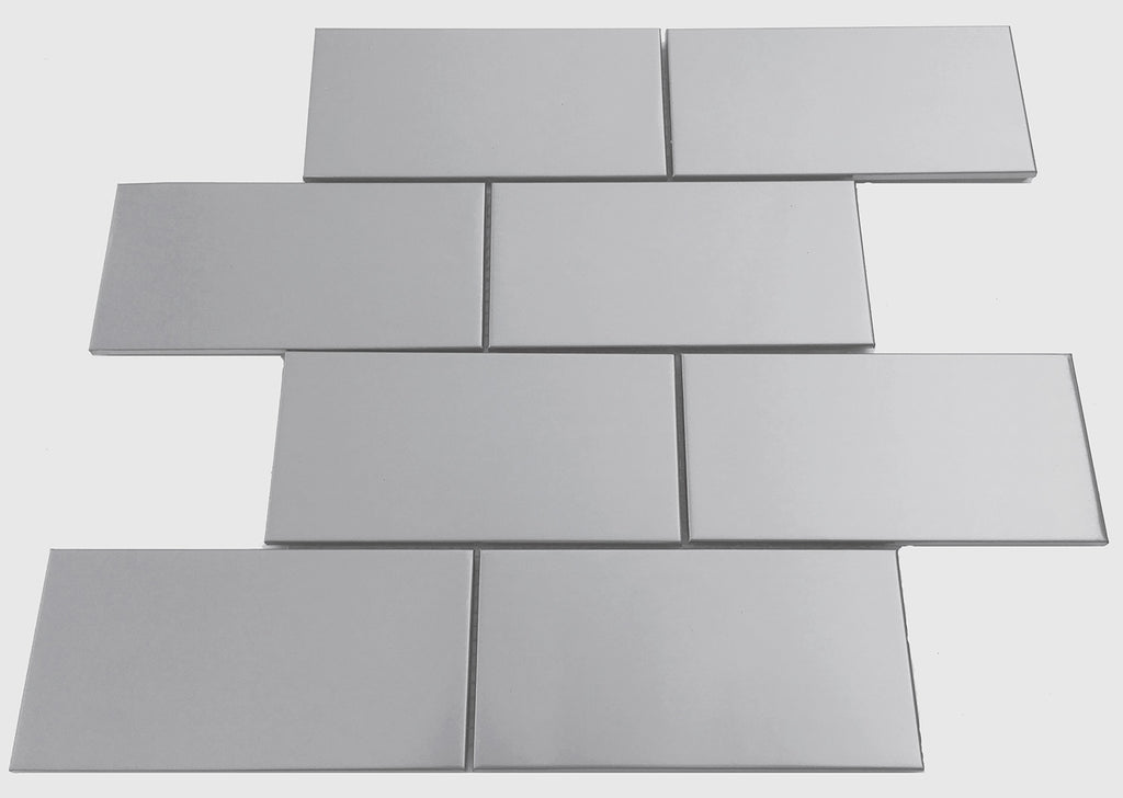 Large Brick 3X6 Subway Stainless Steel Mosaic Tile for Kitchen Backsplash Fireplace & Wall (EMT_045-SIL-SM)