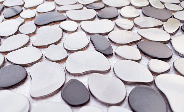 black and silver river rock pattern mosaic stainless steel tile emt115mixcb