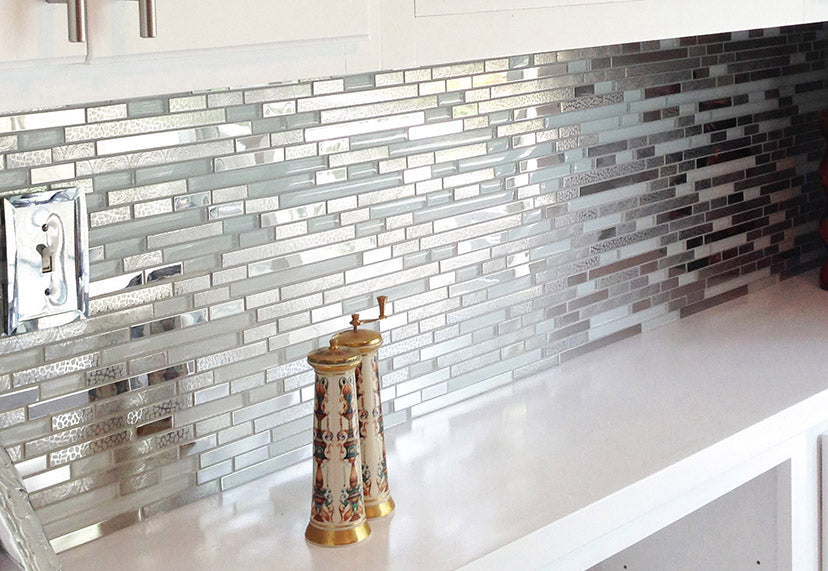 Modern Random Mixed Tile With White Glass And Textured