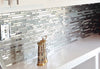 Kitchen Backsplash Modern Random Mixed Tile With White Glass And Textured Metal (EMT_122-MIX-MRFP)