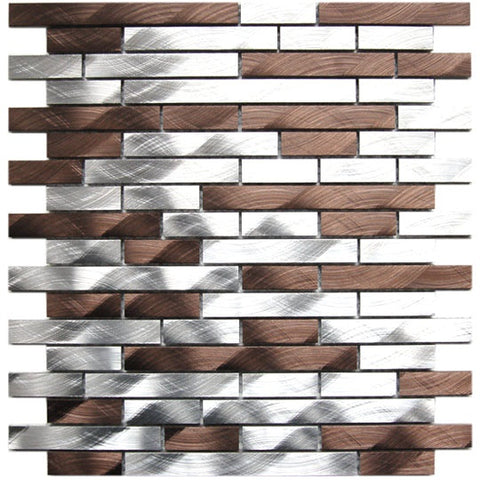 Silver And Chocolate Brick Mixed Aluminum Mosaic Tile for Kitchen Backsplash Fireplace & Wall (EMT_AL20-MIX-CB)