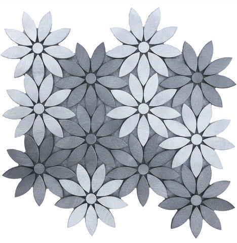 Modern Flower Design - Aluminum Mosaic Tile for Kitchen Backsplash Fireplace & Wall (EMT_AL33-MIX-CB)