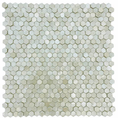 "3D Gold 0.5"" Hexagonal Aluminum Mosaic Tile for Backsplash & Wall (EMT_AL55-GLD-CB)"
