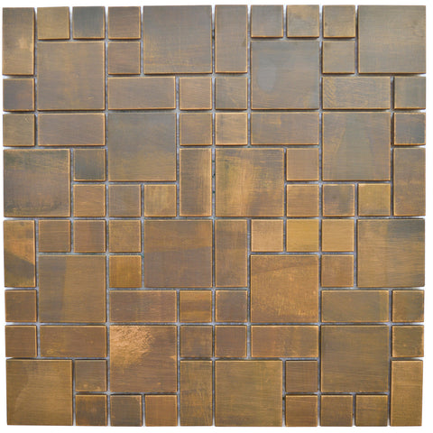 Cobble Pattern Antique Copper Mosaic Tile (EMT_MM20-COP-AT)