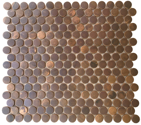Penny Round Antique Copper Mosaic Tile (EMT_T54-COP-AT)