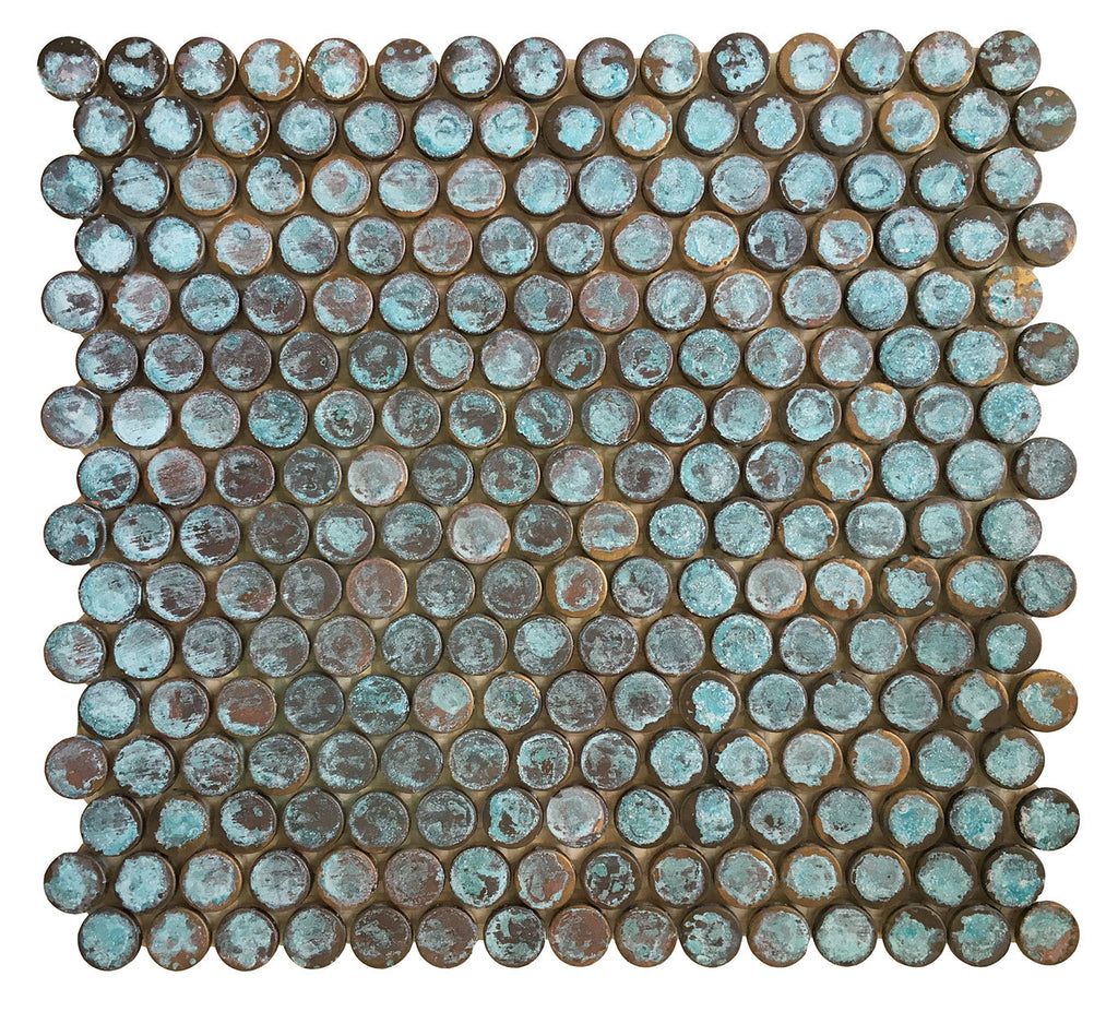 Verdigris Antique Patina Penny Round Copper Tile (EMT_T56-COP-AT)