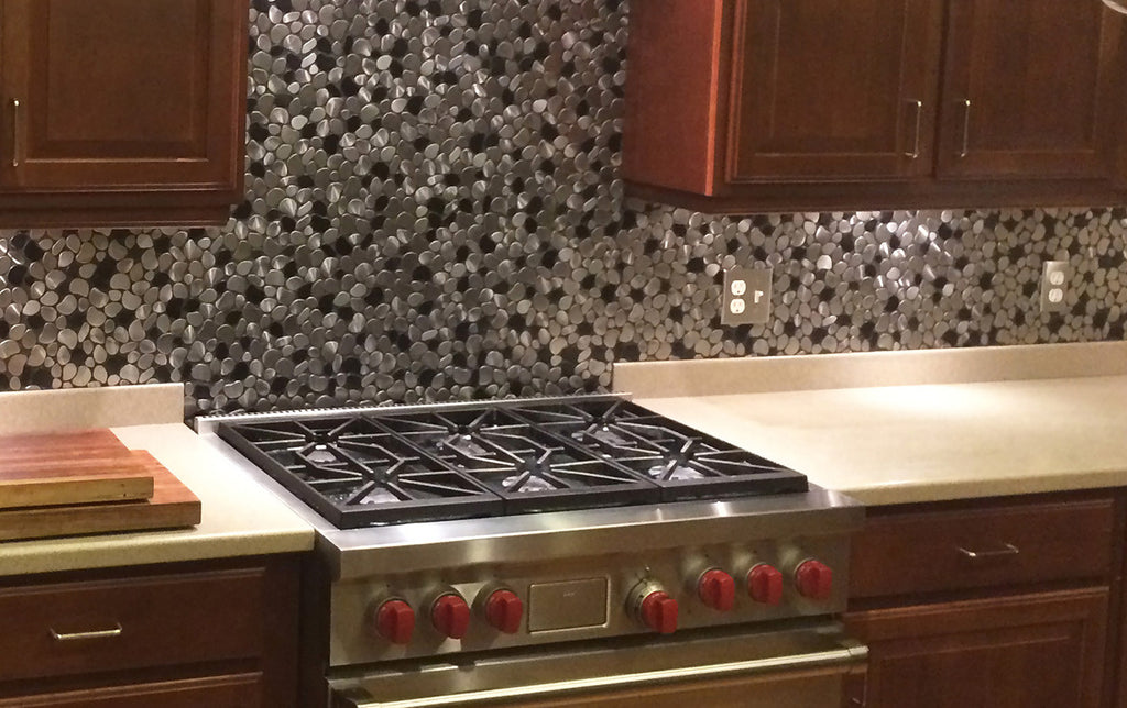 river rock backsplash kitchen black and silver river rock pattern mosaic stainless steel 4848