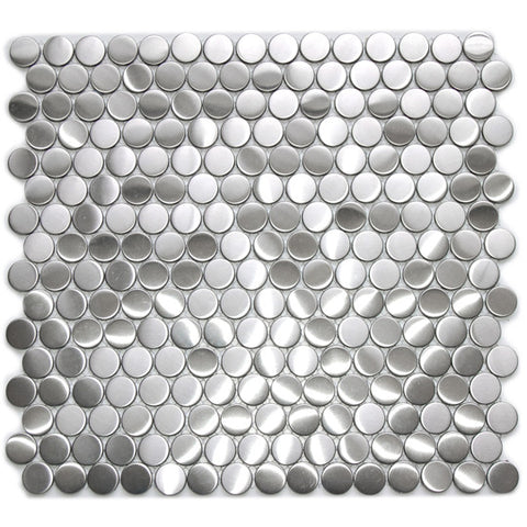 Penny Round Pattern Mosaic Stainless Steel Tile for Kitchen Backsplash & Wall (EMT_056-SIL-SM8) - 8 mm thick