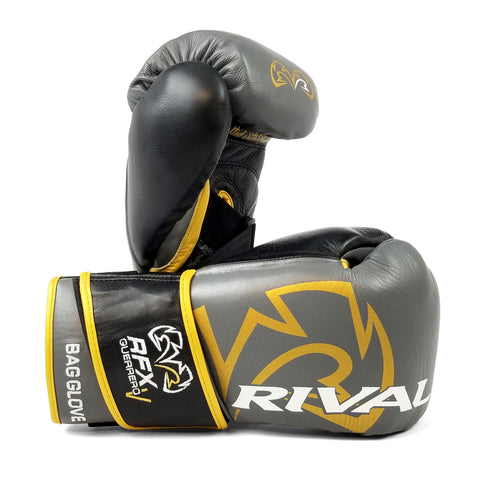 Rival RFX Guerrero Bag Gloves Velcro (HDE-F) Grey/Gold - Bob's Fight Shop