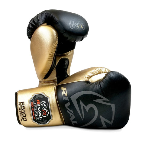 Rival RS-100 Professional Sparring Gloves Black/Gold - Bob's Fight Shop
