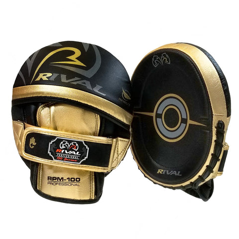 Rival RPM100 Professional Punch Mitts Black/Gold - Bob's Fight Shop