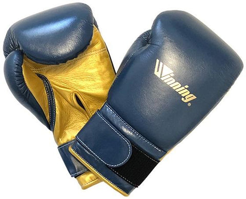 Winning Special Logo Custom Boxing Gloves Navy/Gold - Bob's Fight Shop