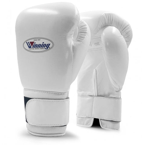 Winning Velcro Boxing Gloves White 12oz - Bob's Fight Shop
