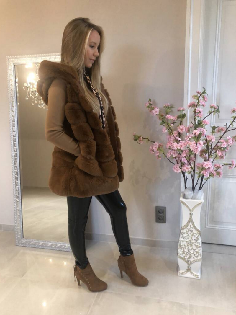 Faux Fur Sleeveless Coat Rust