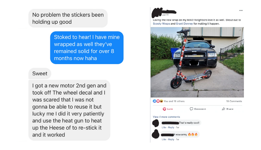 Scooty Wraps for electric scooters customer reviews