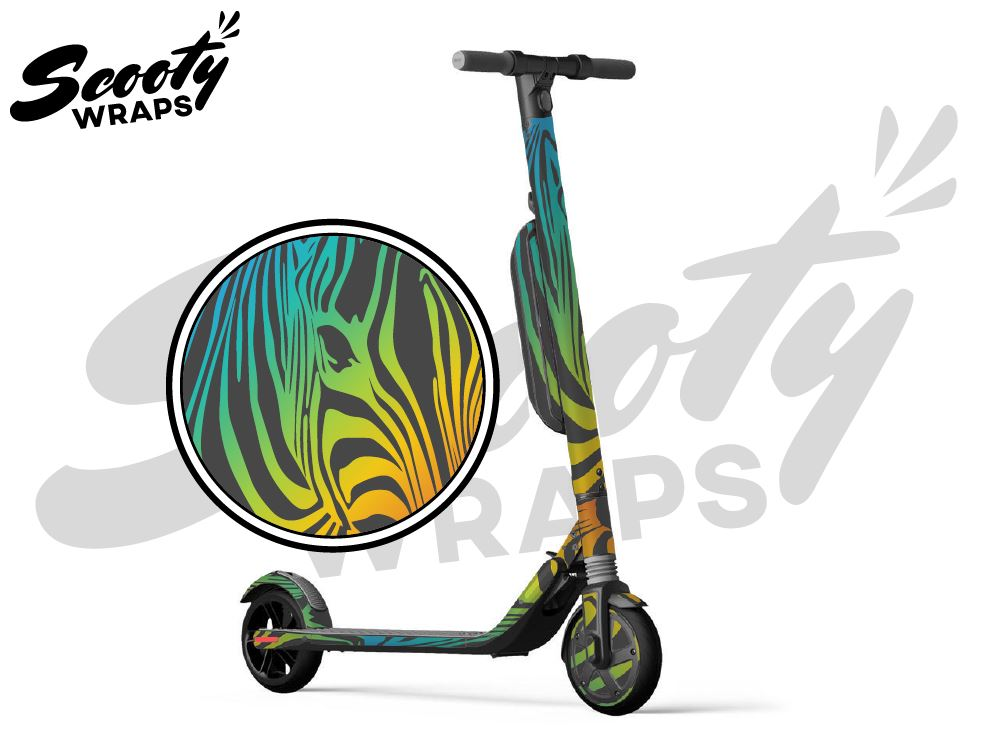 Segway Ninebot ES4 electric scooter wrap dark rainbow zebra