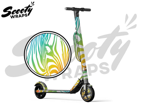 Segway Ninebot ES4 electric scooter wrap light rainbow zebra