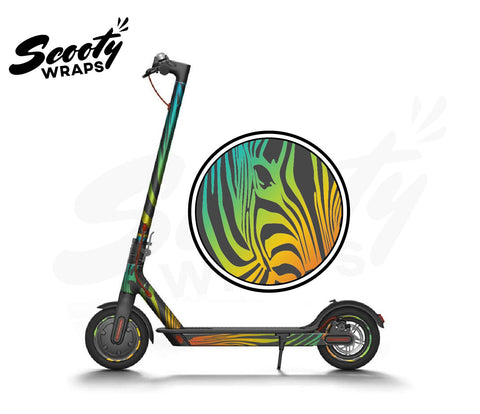 Electric Scooter Wrap  Xiaomi M365 - Dark Rainbow Zebra
