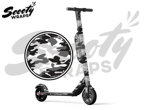 Segway Ninebot ES4 electric scooter wrap black white camo