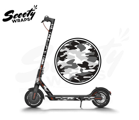 Electric Scooter Wrap  Xiaomi M365 - Black / White Camo