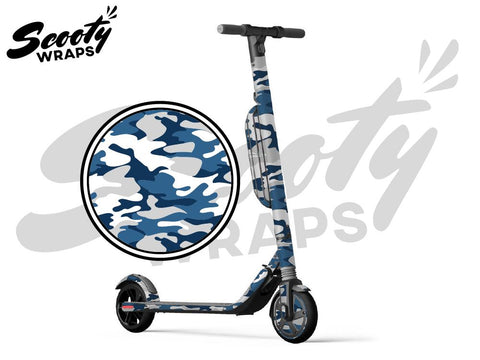 Segway Ninebot ES4 electric scooter wrap blue white camo
