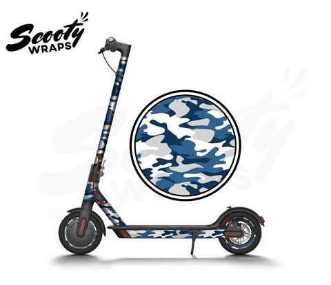 Electric Scooter Wrap  Xiaomi M365 - Blue / White Camo