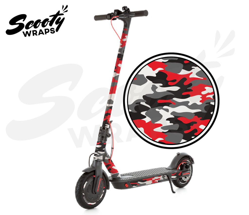 lectric Scooter Wrap  Xiaomi M365 Pro - Red / Black Camo