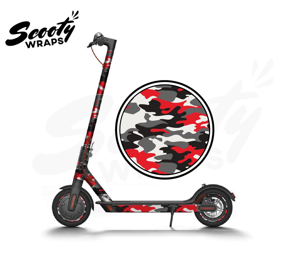 Electric Scooter Wrap  Xiaomi M365 - Red / Black Camo