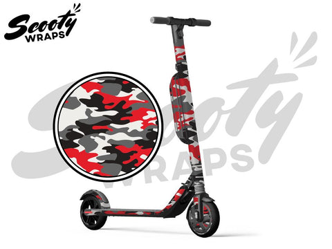 Segway Ninebot ES4 electric scooter wrap Red Black camo