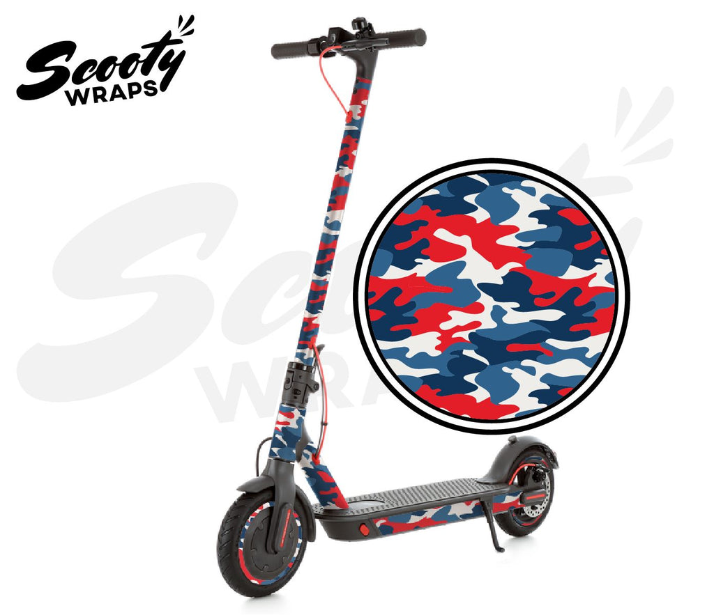 Electric Scooter Wrap  Xiaomi M365 Pro - Red / Blue Camo