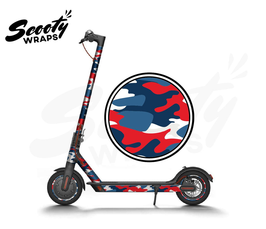 Electric Scooter Wrap  Xiaomi M365 - Red / Blue Camo