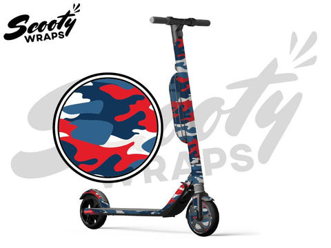 Segway Ninebot ES4 electric scooter wrap Red Blue camo