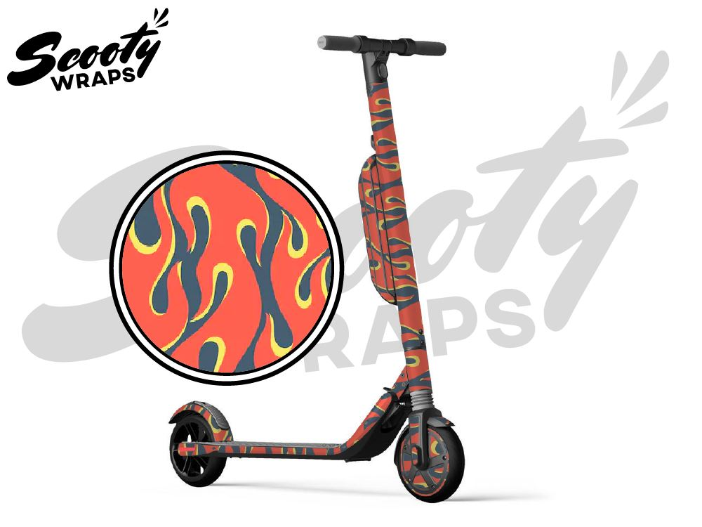 Segway Ninebot ES4 electric scooter wrap Flames
