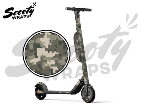 Segway Ninebot ES4 electric scooter wrap green digital camo