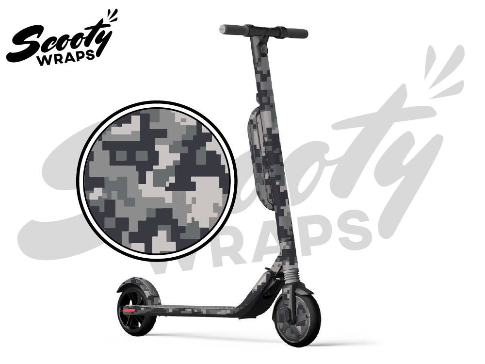 Segway Ninebot ES4 electric scooter wrap grey digital camo
