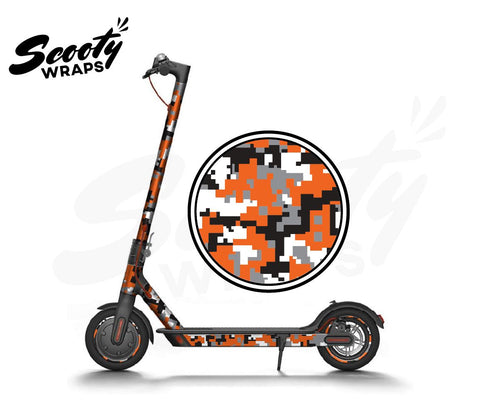 Electric Scooter Wrap  Xiaomi M365 - Orange Digital Camo
