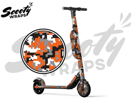 Segway Ninebot ES4 electric scooter wrap Orange digital camo