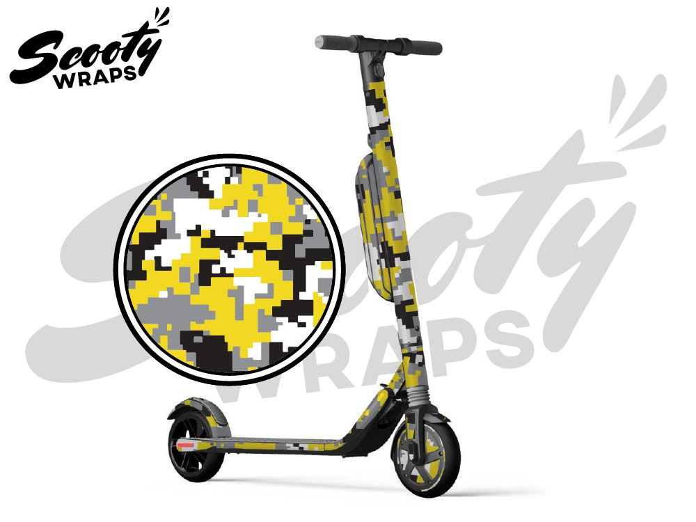 Segway Ninebot ES4 electric scooter wrap yellow digital camo