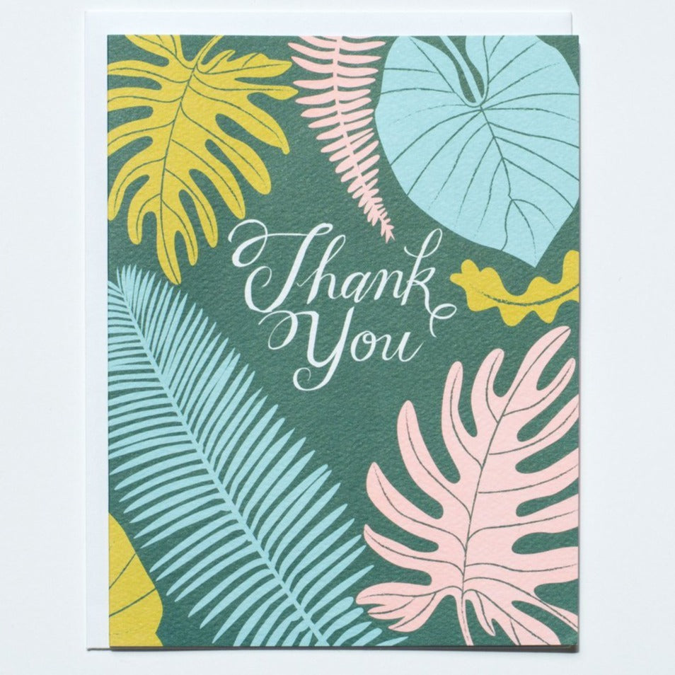 Greeting Card: TROPICAL LEAVES THANK YOU