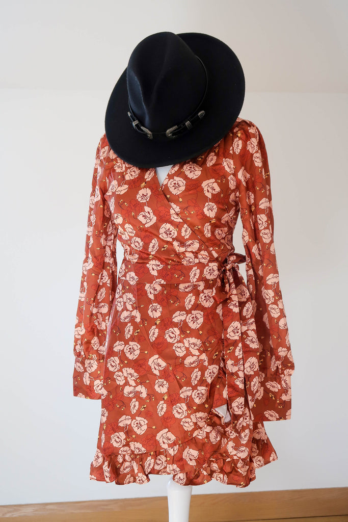 IVIVI Rust Floral Long Sleeve Dress (UK 8 & US 4)