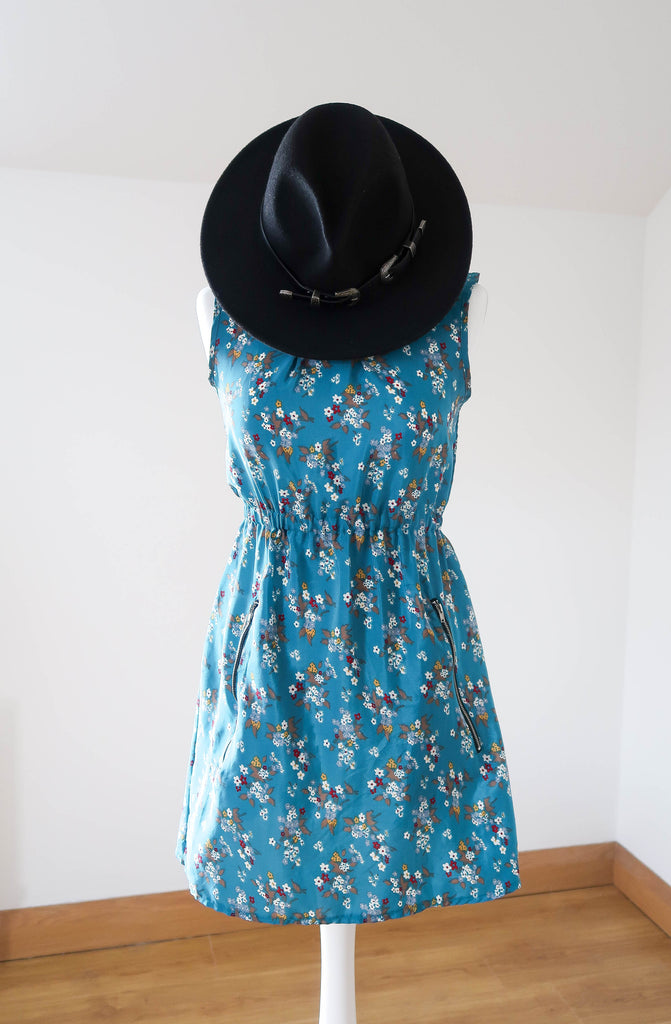Mela Loves London Teal Floral Dress (UK 8 & US 4)