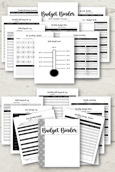Classic Black & White Budget Binder {19 Pages}