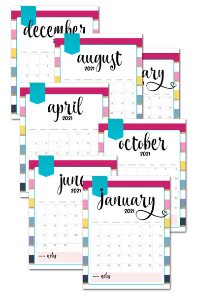2021 Colorful Striped Printable Monthly Calendar Pages