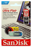 SanDisk 126905 Ultra Flair 32 GB USB 3.0 Flash Drive, Up to 150MB/s read - silver/Black