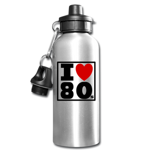 I Love 80s Water Bottle - silver