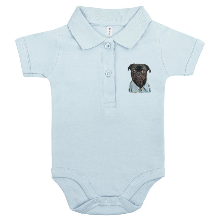 Babylotta Bio Design Polo Babybody Eduard the dog - Hellblau