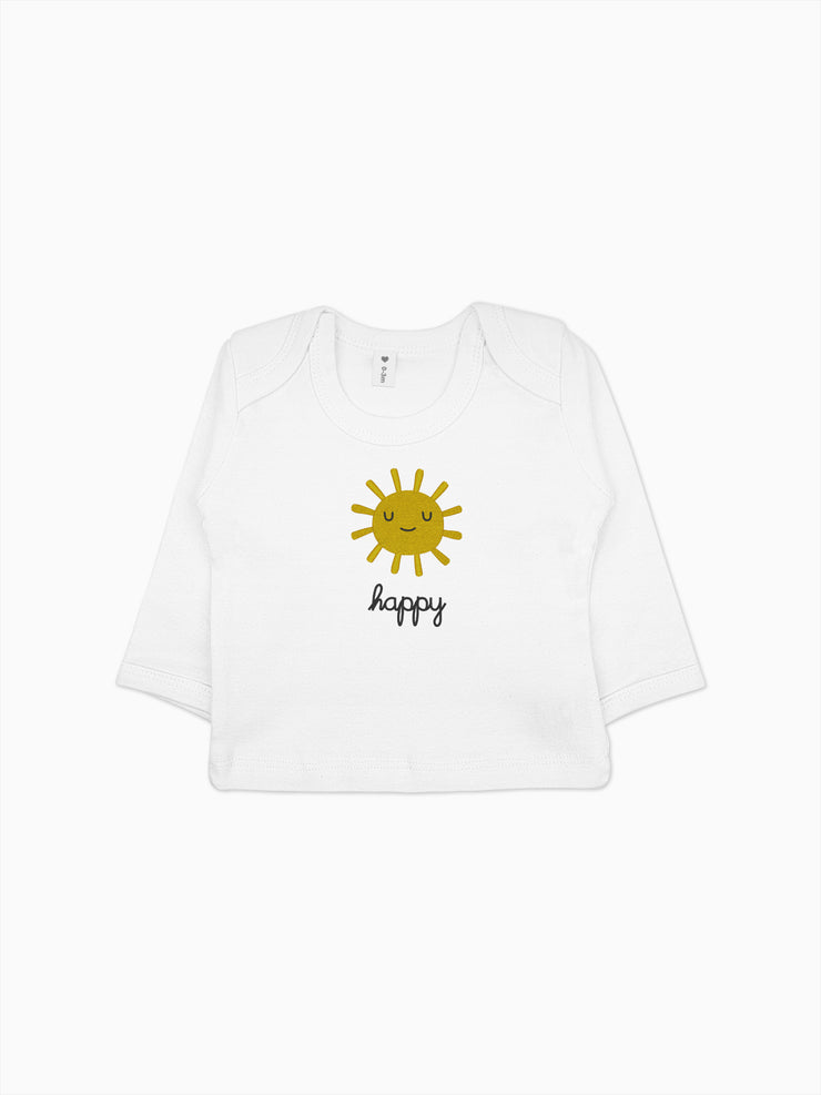 Bio Design Babyshirt Happy Sun - Weiss